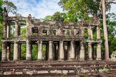 Καταστροφές του ναού Pra Khan σε Angkor Thom της Καμπότζης Στοκ Φωτογραφία