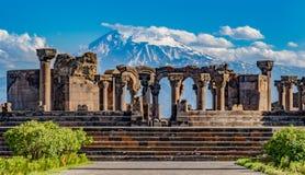 Καταστροφές του ναού Zvartnos σε Jerevan, Αρμενία Στοκ φωτογραφίες με δικαίωμα ελεύθερης χρήσης