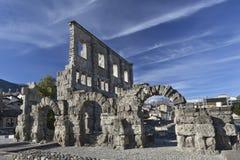 Καταστροφές του ρωμαϊκού θεάτρου σε Aosta Στοκ εικόνες με δικαίωμα ελεύθερης χρήσης