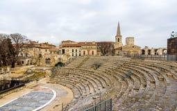 Καταστροφές του ρωμαϊκού θεάτρου σε Arles - περιοχή κληρονομιάς της ΟΥΝΕΣΚΟ Στοκ φωτογραφία με δικαίωμα ελεύθερης χρήσης