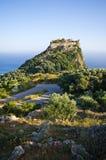 Καταστροφές του φρουρίου Angelokastro - νησί της Κέρκυρας, Ελλάδα Στοκ Εικόνα