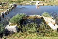 Καταστροφές του antic λιμανιού Milet, δευτερεύουσα Ασία, Τουρκία, ελληνική αποικία Στοκ Εικόνες