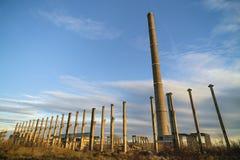 Καταστροφές των βιομηχανικών κτηρίων, εγκαταλειμμένη βιομηχανία στον ανατολικό Στοκ Εικόνες