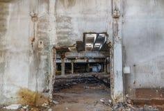 Καταστροφές των κτηρίων βιομηχανικής επιχείρησης που εγκαταλείπονται ή που καταστρέφονται Στοκ Εικόνα