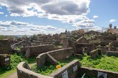 Καταστροφές των σπιτιών στο εγκαταλειμμένο χωριό granadilla στοκ φωτογραφίες