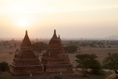 Καταστροφές Bagan στην αυγή, το Μιανμάρ Στοκ Φωτογραφία