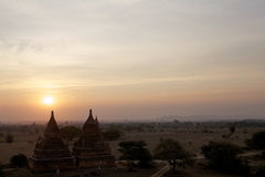Καταστροφές Bagan στην αυγή, το Μιανμάρ Στοκ Εικόνες