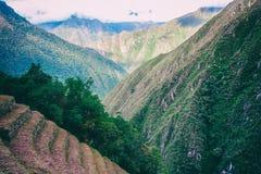 Καταστροφές Inca της καλλιέργειας των πεζουλιών κοντά σε Machu Picchu Περού Κανένας άνθρωπος Στοκ εικόνα με δικαίωμα ελεύθερης χρήσης