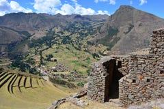 Καταστροφές Inca Pisac, Περού στοκ εικόνες με δικαίωμα ελεύθερης χρήσης