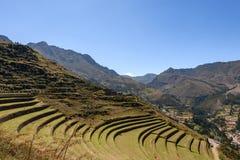Καταστροφές Incan σε Pisac, Περού στοκ εικόνες