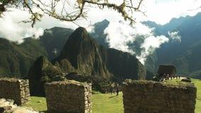 Καταστροφές picchu Machu και ένας τοίχος πετρών απόθεμα βίντεο