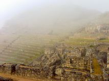 Καταστροφές Picchu Machu σε ένα ομιχλώδες πρωί Στοκ εικόνα με δικαίωμα ελεύθερης χρήσης