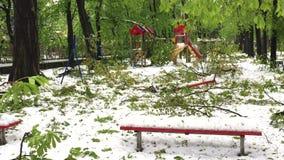 Καταστροφή ισχυρής χιονόπτωσης και πεσμένα δέντρα στις οδούς πόλεων απόθεμα βίντεο