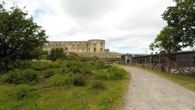 Καταστροφή κάστρων Borgholm έξω απόθεμα βίντεο