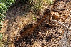 Καταστροφή καθιζήσεων εδάφους βουνών στη sesmically επικίνδυνη περιοχή Μεγάλες ρωγμές στη γη, κάθοδος των μεγάλων στρωμάτων του γ στοκ εικόνα