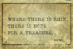 Καταστροφή και ελπίδα Rumi Στοκ φωτογραφίες με δικαίωμα ελεύθερης χρήσης