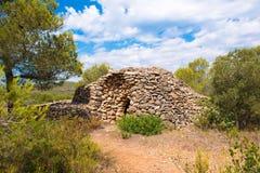 Καταστροφή, κτήριο ξηρών πετρών, 11-15$ος αιώνας, seca piedra, Mont-roig del Camp, Tarragona, Catalunya, Ισπανία Διάστημα αντιγρά Στοκ Εικόνες