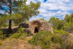 Καταστροφή, κτήριο ξηρών πετρών, 11-15$ος αιώνας, seca piedra, Mont-roig del Camp, Tarragona, Catalunya, Ισπανία Διάστημα αντιγρά Στοκ Εικόνα