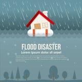 Καταστροφή πλημμυρών με το σπίτι στο δαχτυλίδι ζωής στο διανυσματικό σχέδιο νερού πλημμύρας και βροχής ελεύθερη απεικόνιση δικαιώματος
