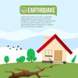 Καταστροφή σεισμού με το διανυσματικό σχέδιο ρωγμών επίγειων ρωγμών και σπιτιών ελεύθερη απεικόνιση δικαιώματος