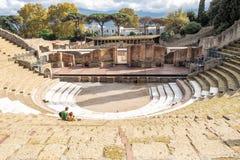 Καταστροφή του αμφιθεάτρου - θέατρο στα ιταλικά Πομπηία στοκ φωτογραφία με δικαίωμα ελεύθερης χρήσης