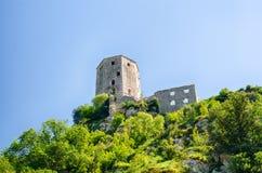 Καταστροφή του παλαιού κάστρου σε Pocitelj, Βοσνία-Ερζεγοβίνη Στοκ Εικόνες