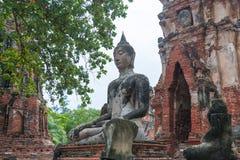 Καταστροφή των αγαλμάτων του Βούδα στο ναό Wat Mahathat, Ayutthaya Histori Στοκ φωτογραφία με δικαίωμα ελεύθερης χρήσης