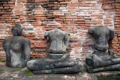Καταστροφή των αγαλμάτων του Βούδα στο ναό Wat Mahathat, Ayutthaya Histori Στοκ Εικόνες