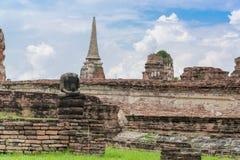 Καταστροφή των αγαλμάτων του Βούδα στο ναό Wat Mahathat, Ayutthaya Histori Στοκ φωτογραφίες με δικαίωμα ελεύθερης χρήσης