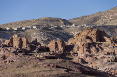 Καταστροφή Moghar Annassara (χριστιανικοί τάφοι) στη Petra και Uum Sa Στοκ Εικόνα