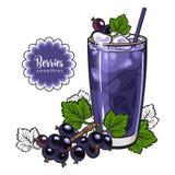 Καταφερτζής μαύρων σταφίδων - θερινό δροσερό ποτό με τα συνδυασμένα φρέσκα ώριμα φρούτα και πάγος στο γυαλί στο ύφος σκίτσων ελεύθερη απεικόνιση δικαιώματος