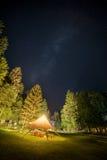 Καταφύγιο στρατοπέδευσης νύχτα που περιβάλλεται στην έναστρη από τα δέντρα Στοκ Φωτογραφία