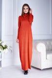 Καταλόγων μόδας περιστασιακό κόκκινο φόρεμα ύφους ένδυσης γυναικών ενδυμάτων πρότυπο Στοκ Εικόνα