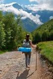 Κατεβαίνει από το βουνό στη δασική πορεία Στοκ φωτογραφία με δικαίωμα ελεύθερης χρήσης