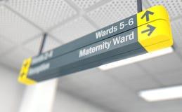 Κατευθυντική μητρότητα σημαδιών νοσοκομείων Στοκ φωτογραφία με δικαίωμα ελεύθερης χρήσης