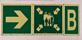 Κατευθυντικό σημάδι σταθμών συγκέντρωσης στο σκάφος Στοκ φωτογραφία με δικαίωμα ελεύθερης χρήσης