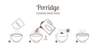 Κατευθύνσεις μαγειρέματος κουάκερ διανυσματική απεικόνιση