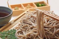 Κατεψυγμένα νουντλς Soba, ιαπωνικά τρόφιμα φαγόπυρου στοκ εικόνα