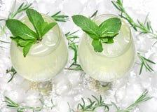 Κατεψυγμένο ποτό με τα φύλλα μεντών goblets κοκτέιλ στους κύβους πάγου Θερινό ποτό Επιλογές φραγμών Κρύο mojito Αναζωογονώντας λε στοκ εικόνες