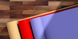 Κατηγορία γιόγκας Χαλιά Exercice στο ξύλινο πάτωμα, τοπ άποψη, διάστημα αντιγράφων τρισδιάστατη απεικόνιση διανυσματική απεικόνιση