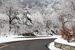 Κατηγορίες τοπίου: Χιόνι εθνικών οδών Yu Shaanxi Qinling Feng Στοκ Εικόνες