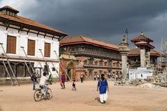 Κατμαντού, Νεπάλ - τον Οκτώβριο του 2018: Τετράγωνο Durbar σε Bhaktapur Κατμαντού, Νεπάλ Το Bhaktapur είναι μια από τις περιοχές  στοκ εικόνες