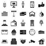 Κατοικήστε τα εικονίδια καθορισμένα, απλό ύφος απεικόνιση αποθεμάτων