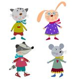 Κατοικίδια ζώα, χαρακτήρες κινουμένων σχεδίων Στοκ Εικόνα