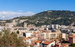 Κατοικημένα κτήρια στη Νίκαια - τη Γαλλία Στοκ εικόνα με δικαίωμα ελεύθερης χρήσης