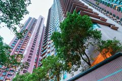 Κατοικημένη περιοχή πολυόροφων κτιρίων πόλεων Χονγκ Κονγκ το βράδυ Φυσικό ανοδικό τοπίο των υψηλών κτηρίων ουρανοξυστών Στοκ Εικόνες