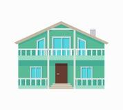 Κατοικημένο εξοχικό σπίτι με το πεζούλι στα πράσινα χρώματα Στοκ εικόνες με δικαίωμα ελεύθερης χρήσης
