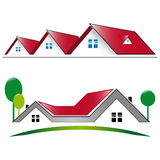 Κατοικημένο σπίτι εικονιδίων με την κόκκινη στέγη Στοκ Εικόνες