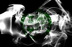 Κατουρήστε σημαία καπνού πόλεων δήμων κατουρήματος, κράτος του Οχάιου, Πολιτεία του Α στοκ εικόνες
