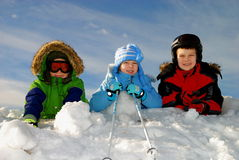 κατσίκια που παίζουν το χιόνι Στοκ Εικόνες